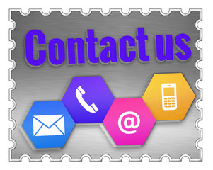 contact us sign on a stamp isolated on white background