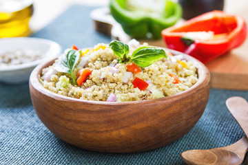 Quinoa with fennel and pepper salad