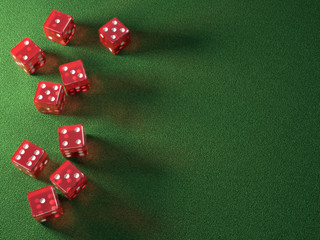 Red Dice Green Table. Clipping path included.