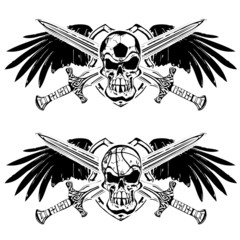 soccer and basketball shield emblem