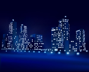 City at night. Vector illustration
