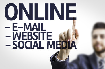 Business man pointing the text: Online Descriptions