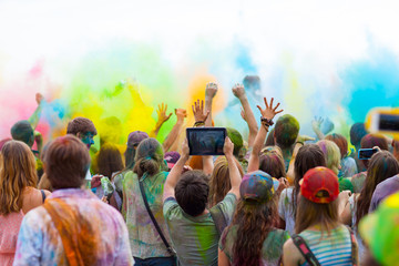 People at the Holi festival of colors