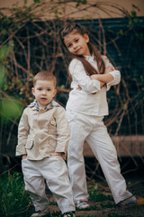 seriouse small sister and brother looking for you