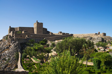 Marvao castle and garden under blue sky