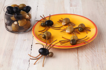 Homemade creative Halloween spider snacks