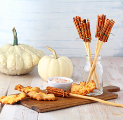 Fun Halloween witches broomstick appetizers