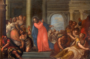 Padua - Paint of Jesus Cleanses the Temple scene