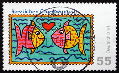 Postage stamp Germany 2008 Two Fishes, Greetings