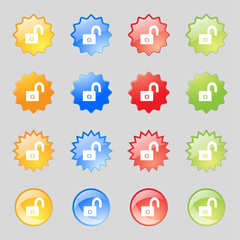 Lock sign icon. Locker symbol. Set colur buttons. Vector