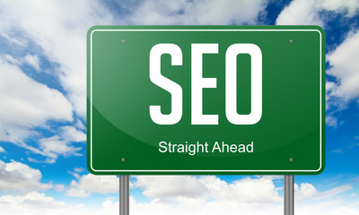 Seo on Green Highway Signpost.