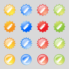 Usb sign icon. flash drive stick symbol. Set colourful buttons.