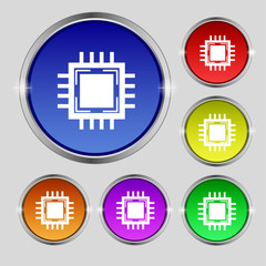 Central Processing Unit Icon. Technology scheme circle symbol.
