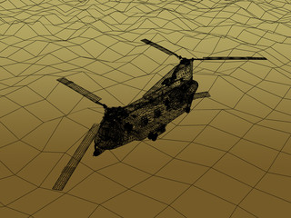3d Wire Frame  of Helicopter