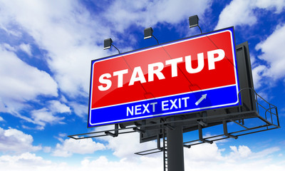 Startup Inscription on Red Billboard.