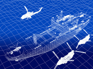 warship with helicopter 3d wire frame on water