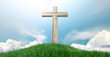 Crucifix On A Grassy Hill And Blue Sky - 70404089