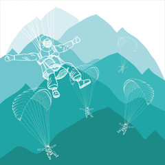paragliding sportsmen in winter mountains