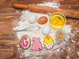 Easter cookies and ingredients for cooking.