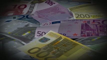 Euro bills - camera flies over money