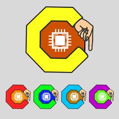 Central Processing Unit Icon. Technology scheme circle symbol.