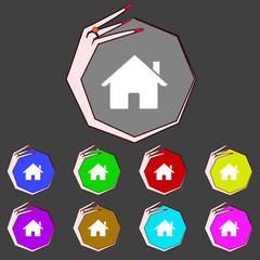 Home sign icon. Main page button. Navigation symbol. Set colur