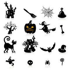 Set of 16 Halloween icons with reflection on white background