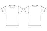 T-shirt template. Front and back view in black contour - 70405820