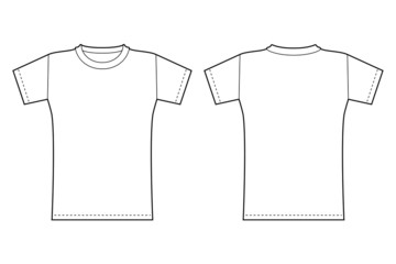 T-shirt template. Front and back view in black contour