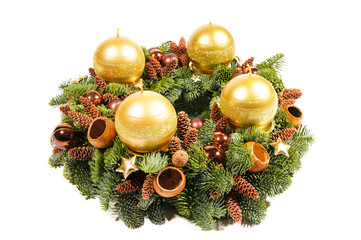 Advent Christmas wreath with gold candles