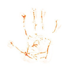 Hand print ketchup isolated on white background.