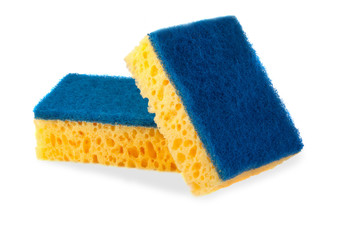 Two cleaning sponges, isolated on white background