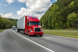 Red Semi Truck On An Interstate Highway