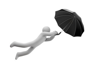 Person flying on umbrella