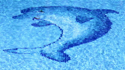 Pool surface Waves With Dolphin mosaic