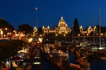 Inner Harbor at night Victoria B.C.,Canada.
