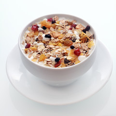 Delicious breakfast muesli with fruit and nuts