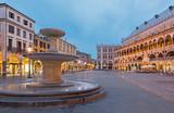 Padua - Piazza delle Erbe in evening dusk and Palazzo Ragione.