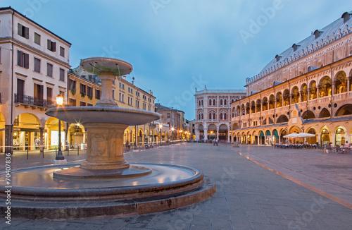 Leinwanddruck Bild Padua - Piazza delle Erbe in evening dusk and Palazzo Ragione.