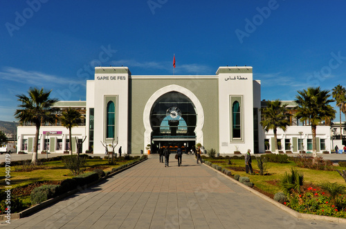 Facade of Main Train Station in Fes - 70407879