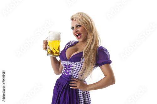 canvas print picture Bayerische Frau mit einem Bier