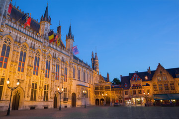Bruges - The Burg square and facade of gothic town hall.