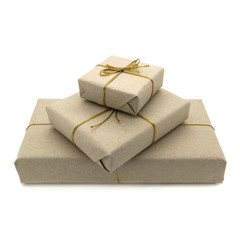 Parcels wrapped in brown paper
