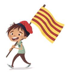 niño con bandera de cataluña