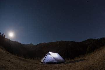 night camping under the stars Mountains