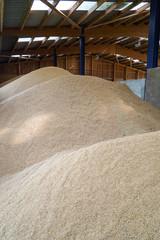 Getreidelagerung in einer Halle