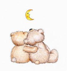 Two Teddy bears in love