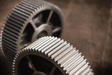 Closeup gears on black