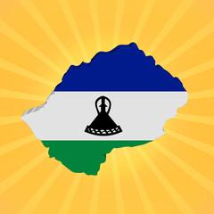 Lesotho map flag on sunburst illustration