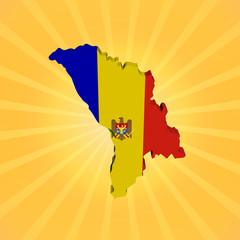 Moldova map flag on sunburst illustration